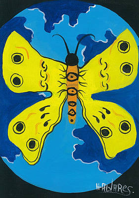 Herold Alvares Painting - Butterfly World by Herold Alvares