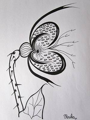 Passionate Drawing - Butterflyplant by Rosita Larsson