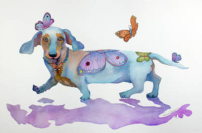 Painting - Butterfly Doxie Doo by Marcia Baldwin