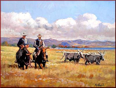 A Summer Evening Landscape Painting - Butteri Italian Cowboys by Vaccaro