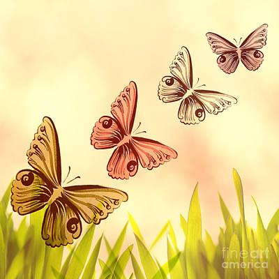 Butterflies Fantasy Print by Tanja Riedel