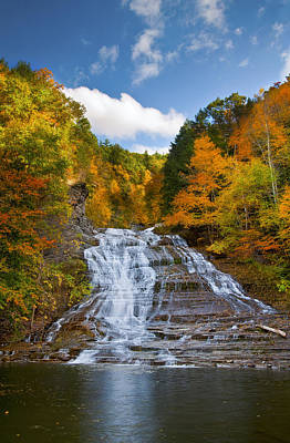 Fall Foliage New York Wall Art - Photograph - Buttermilk Falls 2 by Mark Papke