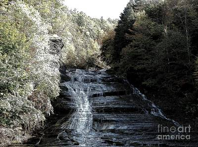 Buttermilk Falls Ithaca New York Ink Sketch Effect Art Print by Rose Santuci-Sofranko