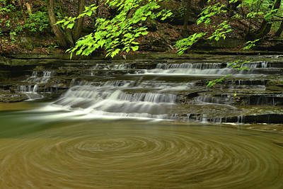 Buttermilk Falls Sp Swirling Water Art Print by Dean Hueber