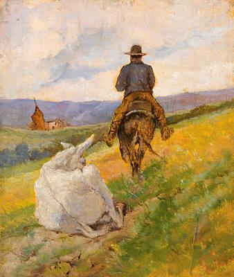 Giovanni Fattori Painting - Buttero On A Horse And A White Mule by Giovanni Fattori