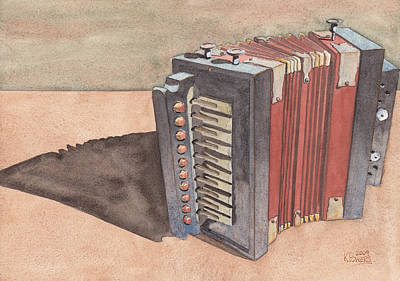 Painting - Button Accordion by Ken Powers