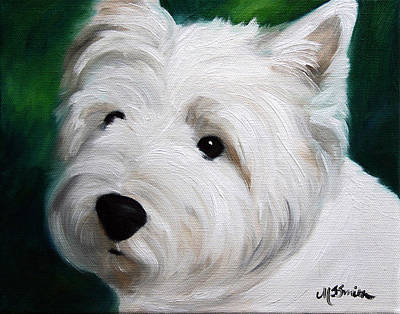 West Highland Painting - Button Nose And Eyes Of Coal by Mary Sparrow
