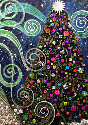 Painting - Button Tree 0012-holiday by Monica Furlow