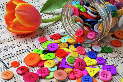 Buttons And Tulip Art Print