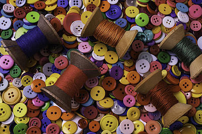 Photograph - Buttons With Thread by Garry Gay