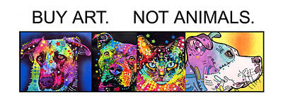 Bulls Painting - Buy Art Not Animals by Dean Russo