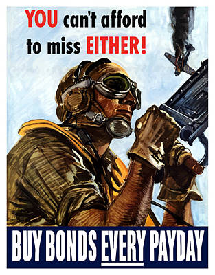 Fighter Plane Painting - Buy Bonds Every Payday by War Is Hell Store