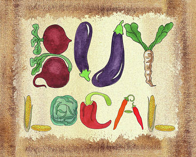 Painting - Buy Local Farmers Market by Irina Sztukowski