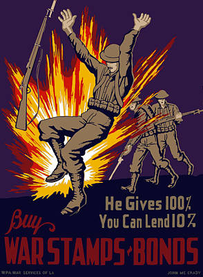 Explosions Painting - Buy War Stamps And Bonds by War Is Hell Store