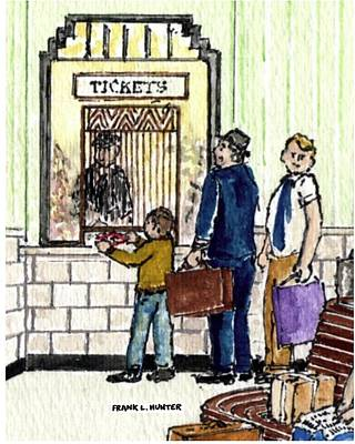 Painting - Buying Snacks At The Ticket Office by Frank Hunter