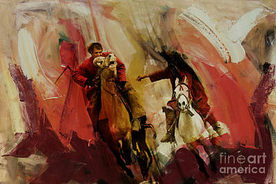 Afghanistan Painting - Buzkashi 001 by Gull G