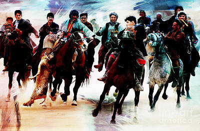 Afghanistan Painting - Buzkashi 003 by Gull G