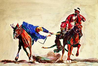 Painting - Buzkashi, A Power Game by Khalid Saeed