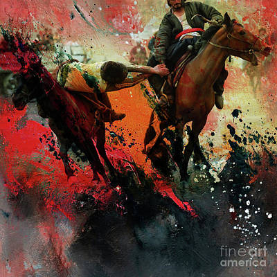 Painting - Buzkashi Fight by Gull G
