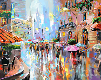Painting - Buzy City Streets by Tim Gilliland