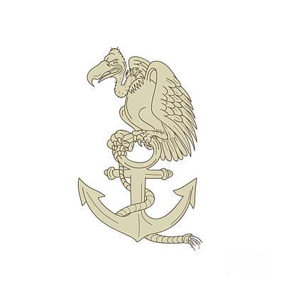 Buzzard Digital Art - Buzzard Perching Navy Anchor Cartoon by Aloysius Patrimonio