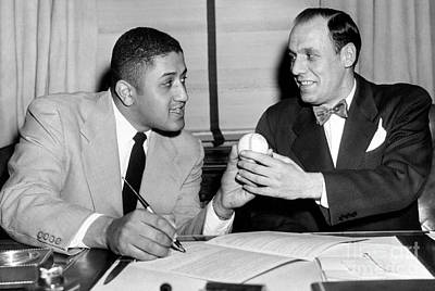 Buzzie Bavasi  Signs Don Newcombe To His New Contract With The Dodgers. 1951 Print by Barney Stein