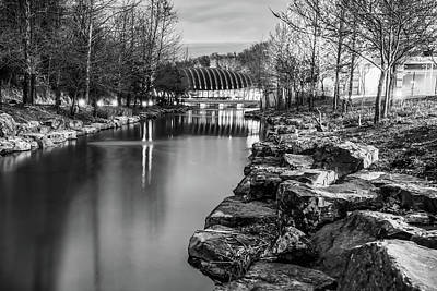 Photograph - Bw Crystal Bridges River And Rocks - Monnochrome - Bentonville Arkansas  by Gregory Ballos