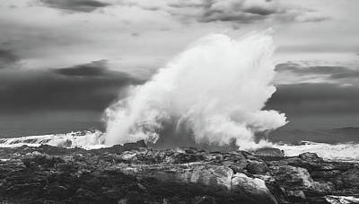 Photograph - Bw Huge Wave Crashing On Tsitsikamma National Park South Africa by Jeff at JSJ Photography