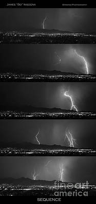 Lightning Photograph - Bw Lightning Thunderstorm Sequence by James BO  Insogna