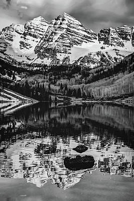 Photograph - Bw Mountain Landscape - Maroon Bells by Gregory Ballos