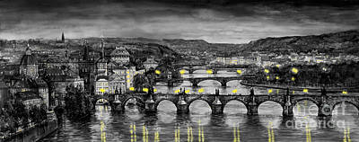 Prague Painting - Bw Prague Bridges by Yuriy  Shevchuk