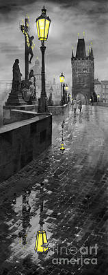 Bw Prague Charles Bridge 01 Art Print by Yuriy  Shevchuk