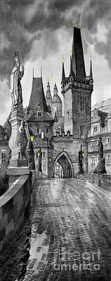Charles Bridge Digital Art - Bw Prague Charles Bridge 02 by Yuriy  Shevchuk