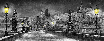 Bw Prague Charles Bridge 06 Art Print by Yuriy  Shevchuk