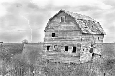 Bw Rustic Barn Lightning Strike Fine Art Photo Art Print
