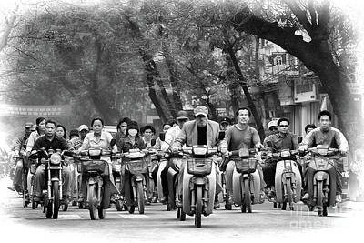 Photograph - Bw Streets Vietnam Motorcycles II by Chuck Kuhn