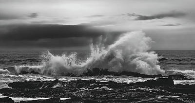 Photograph - Bw Waves Crashing On Tsitsikamma South Africa With Clouds by Jeff at JSJ Photography
