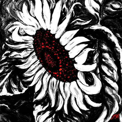 Abstract Digital Art - Bwr Sunflower One by Linda Mears