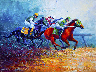 Jockeys Painting - By A Neck by Marion Rose