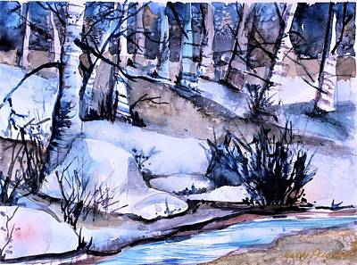 Painting - By A Winter Stream by Mindy Newman