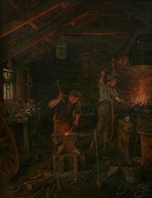 Wagon Wheels Painting - By Hammer And Hand All Arts Doth Stand by William Banks Fortescue