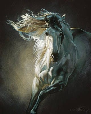 Blue-gray Painting - By Moonlight by Heather Theurer