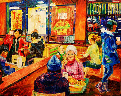Burger King Painting - By One Night In The Burger King by Helen Winnipeg