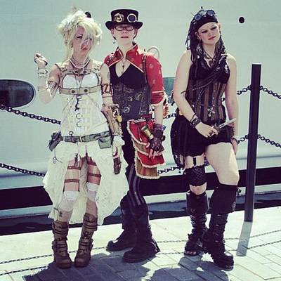 Steampunk Photograph - Comiccon Girls by Si Robinson