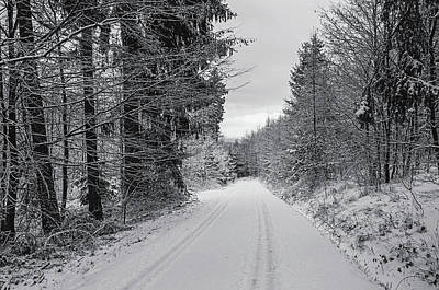 Photograph - By Snowy Road. Black And White by Jenny Rainbow