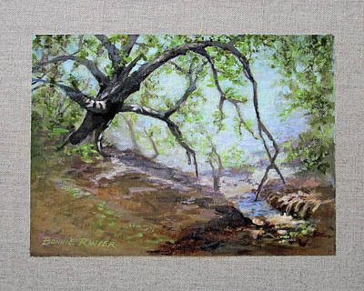 Art Print featuring the painting By The Creek by Bonnie Rinier