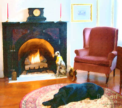 Labrador Retriever Digital Art - By The Fire by Ken and Lois Wilder