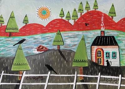 Folk Art Painting - By The Lake August by Karla Gerard