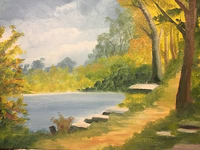 Painting - By The Lake by David Bartsch