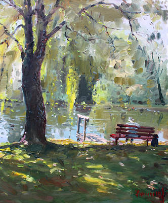 Lake Painting - By The Lake  by Ylli Haruni